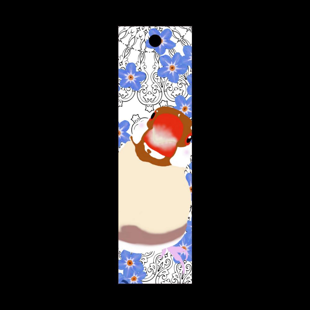 シナモン文鳥と勿忘草① 短冊型アクリルキーホルダー (W20mm H70mm)