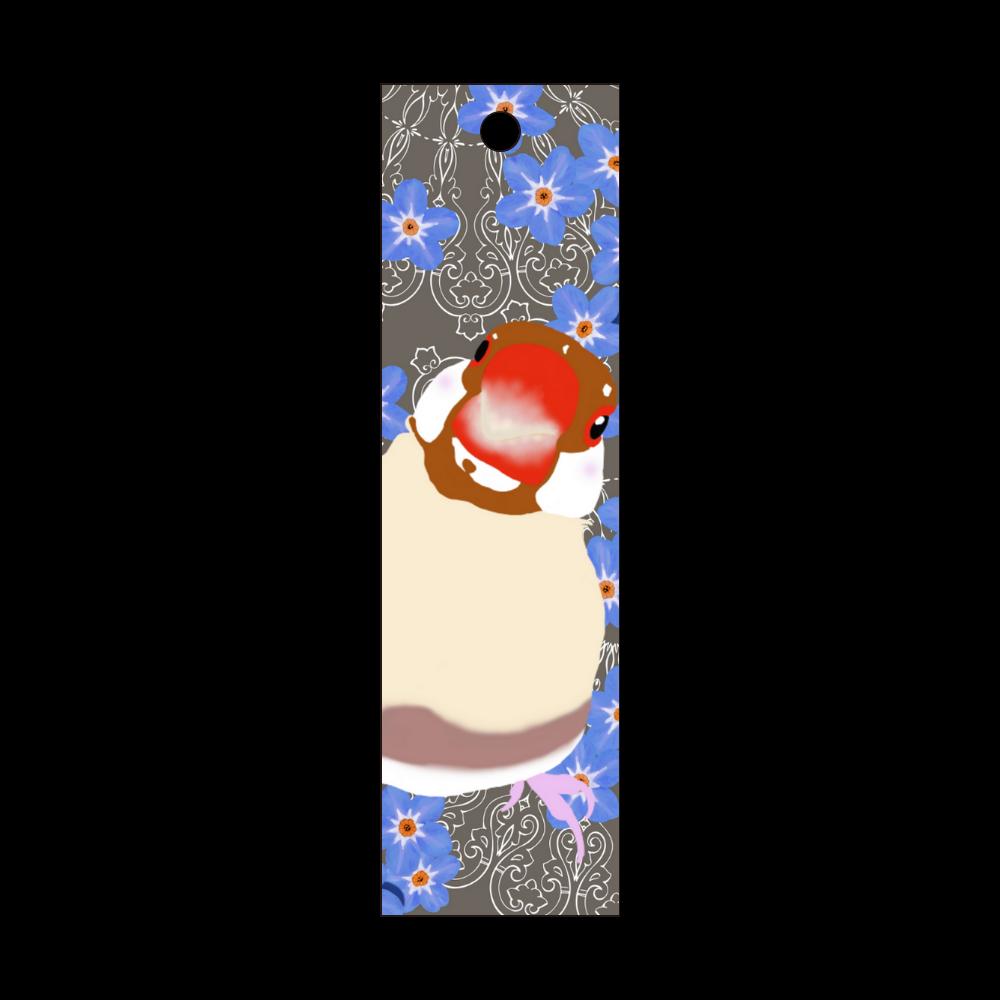 シナモン文鳥と勿忘草② 短冊型アクリルキーホルダー (W20mm H70mm)