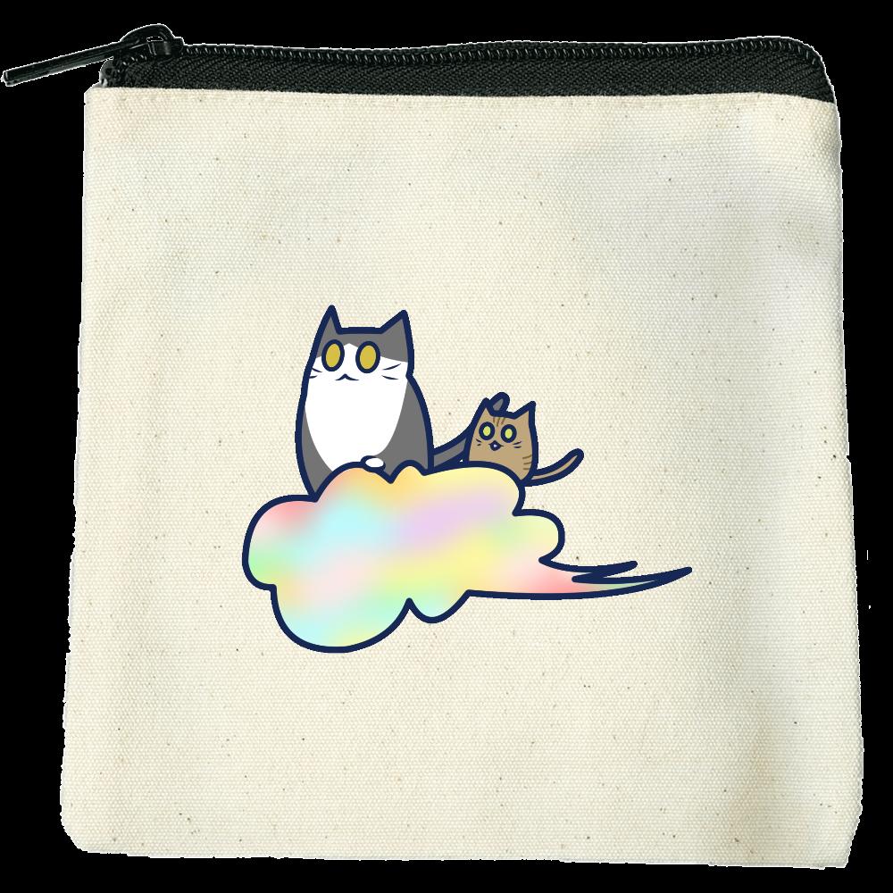 五色の雲と二匹の猫 ライトキャンバスフラットポーチ(SS) ライトキャンバスフラットポーチ(SS)