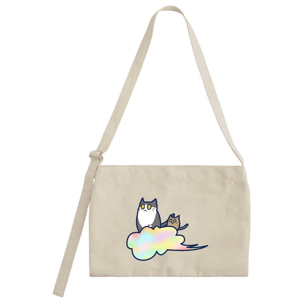 五色の雲と二匹の猫 キャンバスミュゼットバッグ キャンバスミュゼットバッグ