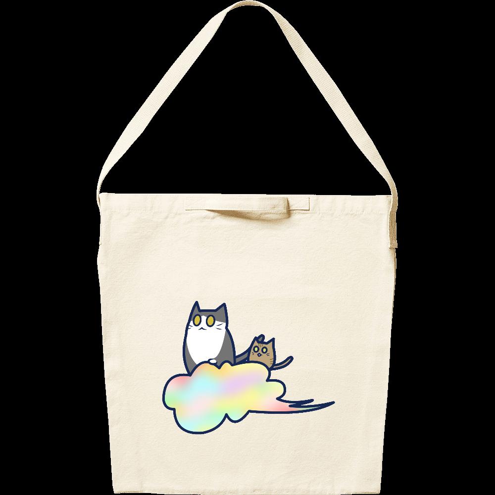 五色の雲と二匹の猫 キャンバスショルダーバッグ キャンバスショルダーバッグ