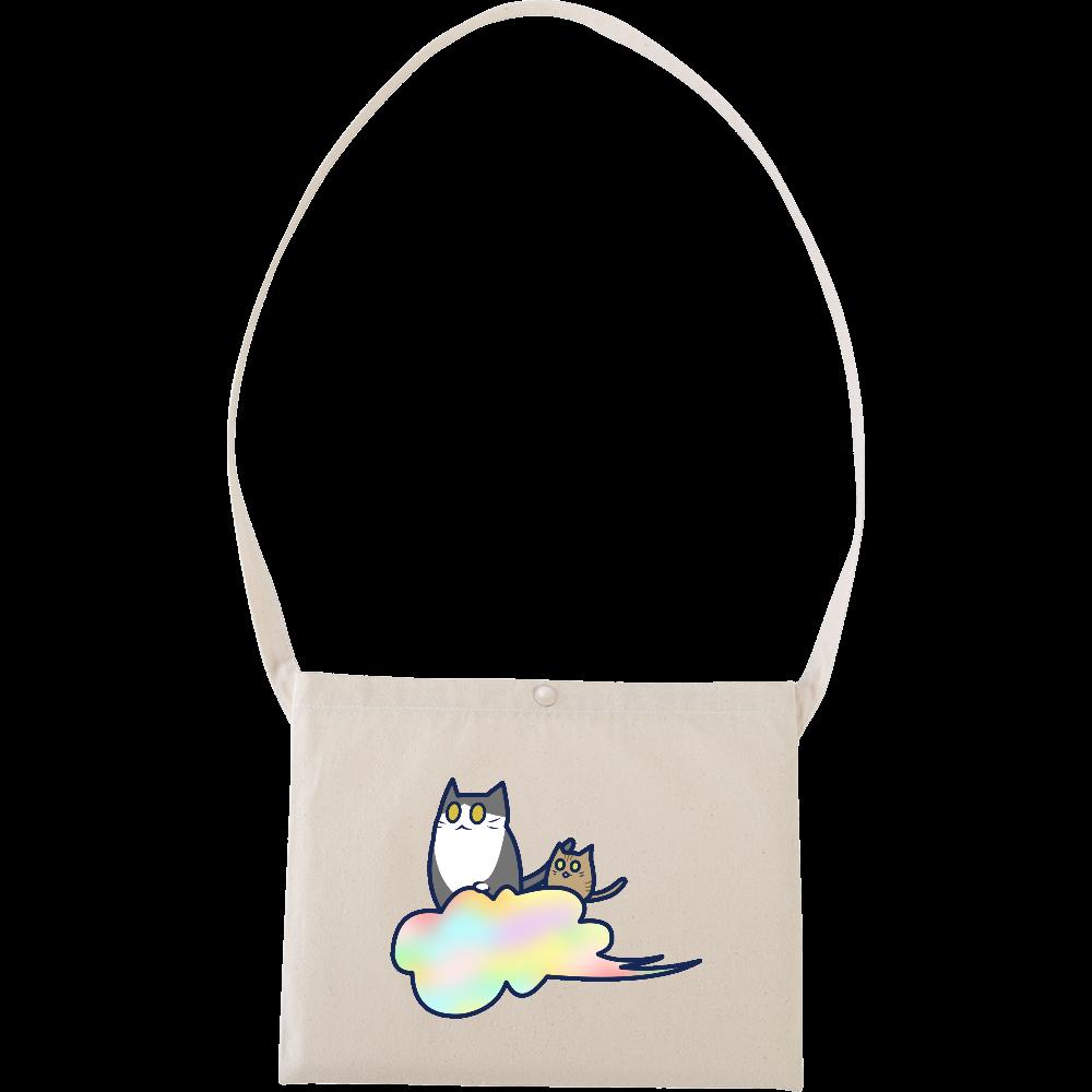 五色の雲と二匹の猫 キャンバスサコッシュ キャンバスサコッシュ