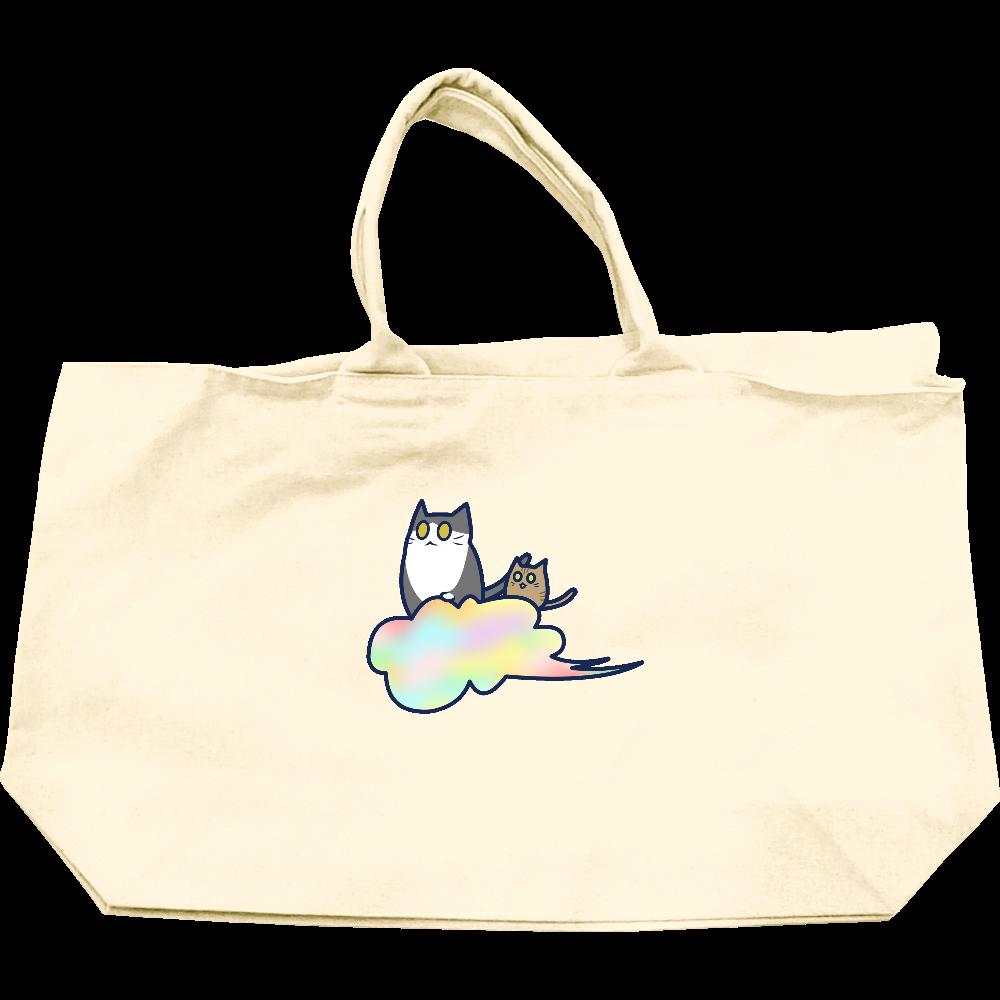 五色の雲と二匹の猫 ヘヴィーキャンバスジップトートバッグ ヘヴィーキャンバスジップトートバッグ