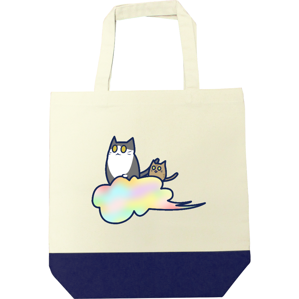 五色の雲と二匹の猫 キャンバスツートントートバッグ(M) キャンバスツートントートバッグ(M)