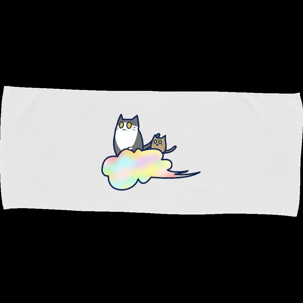 五色の雲と二匹の猫 即日フェイスタオル 即日フェイスタオル