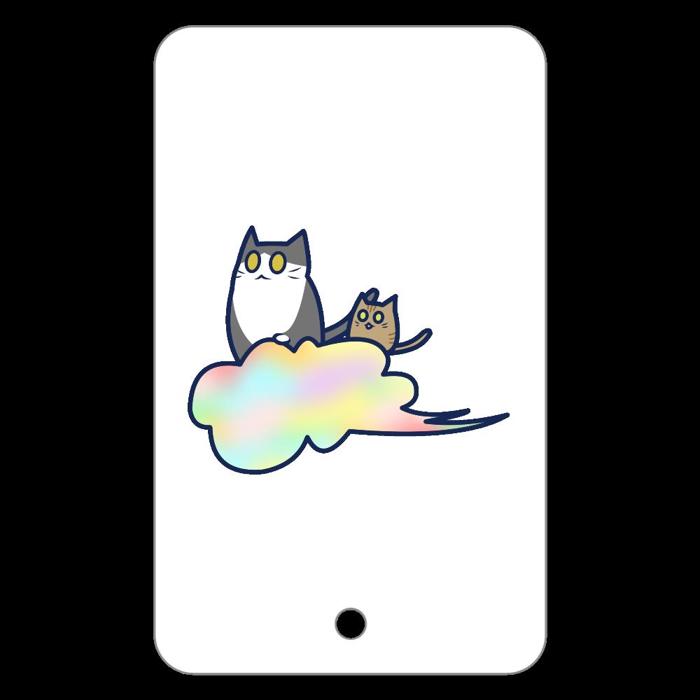 五色の雲と二匹の猫 フラットパスケース フラットパスケース