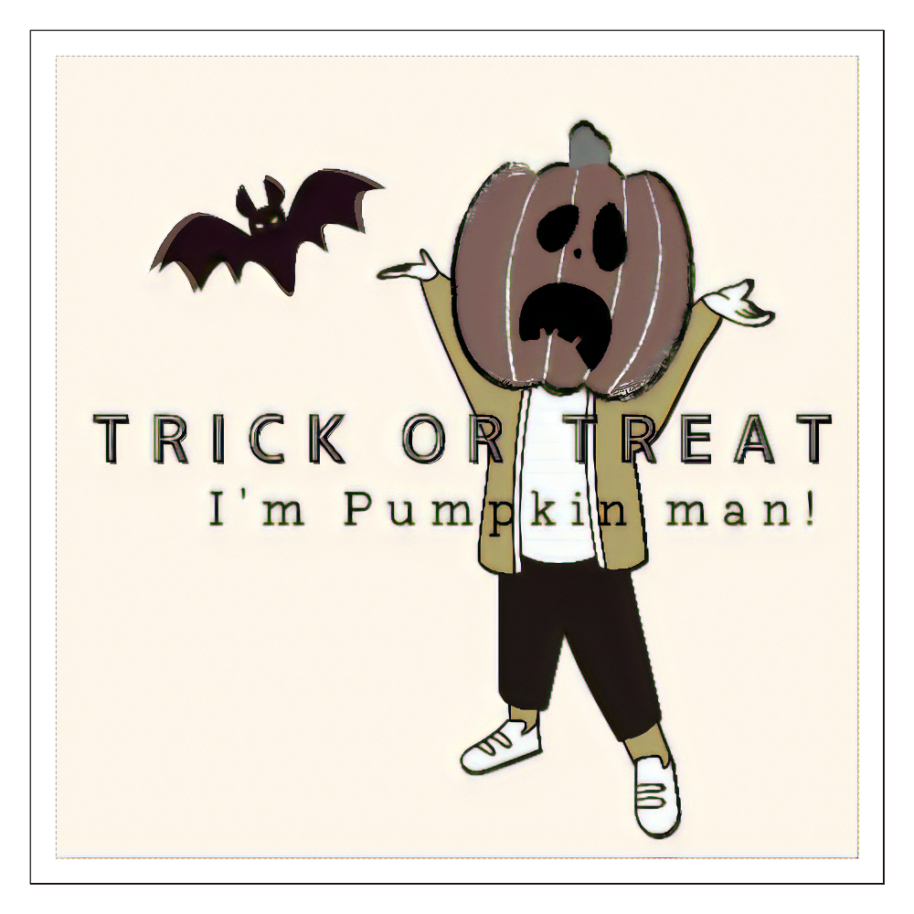100㎜ステッカー:かぼちゃ男くん 100mmホワイトステッカー・シール