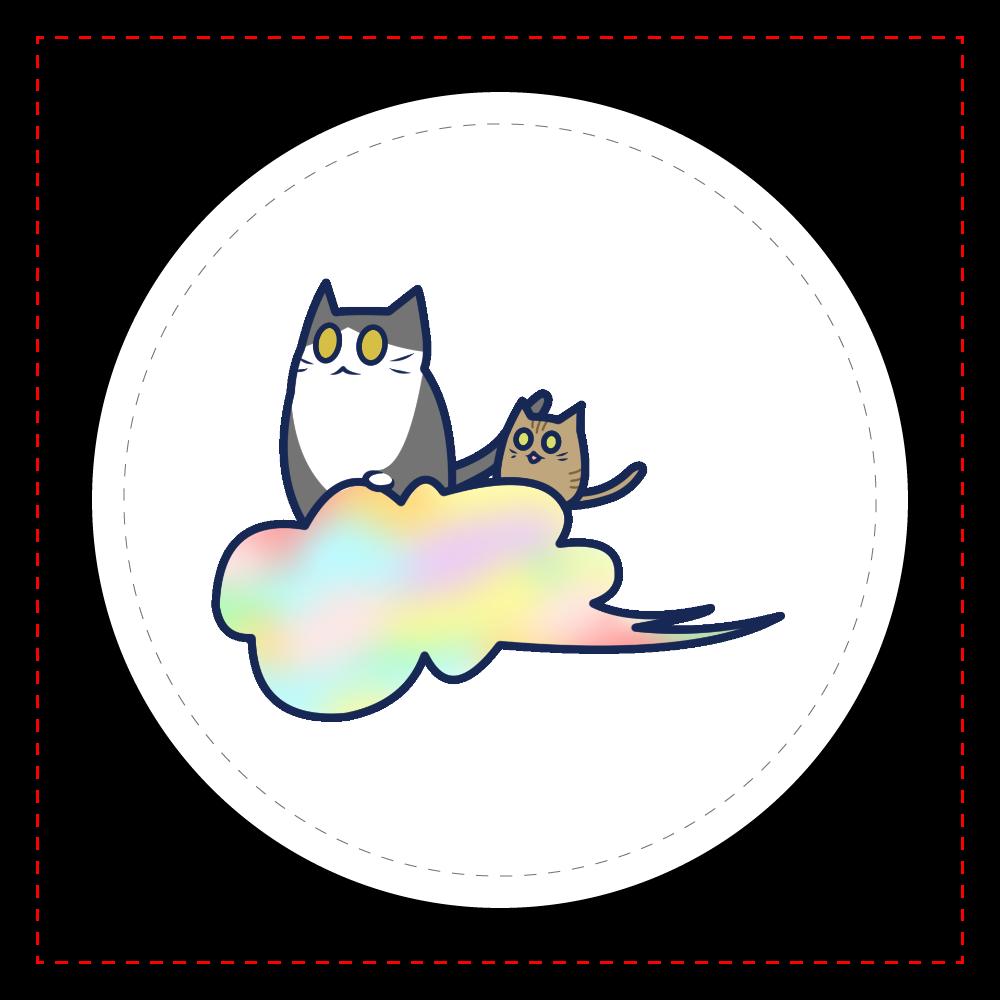 五色の雲と二匹の猫 レザーバッジ レザーバッジ