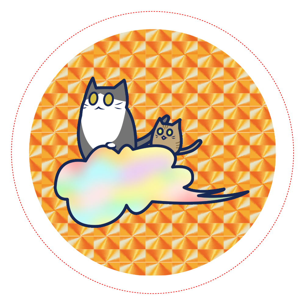 五色の雲と二匹の猫 ホログラムオリジナル缶バッジ(56mm) ホログラムオリジナル缶バッジ(56mm)