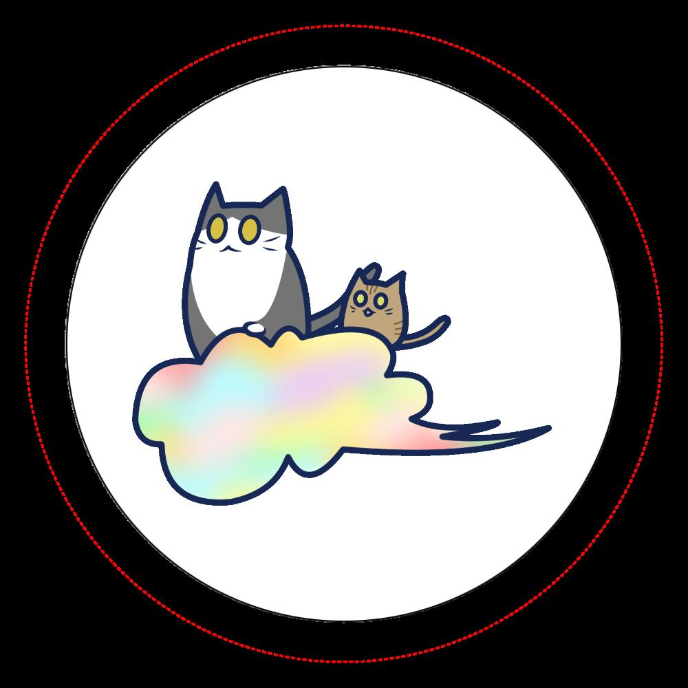 五色の雲と二匹の猫 オリジナル缶バッジ白背景(56mm) オリジナル缶バッジ白背景(56mm)