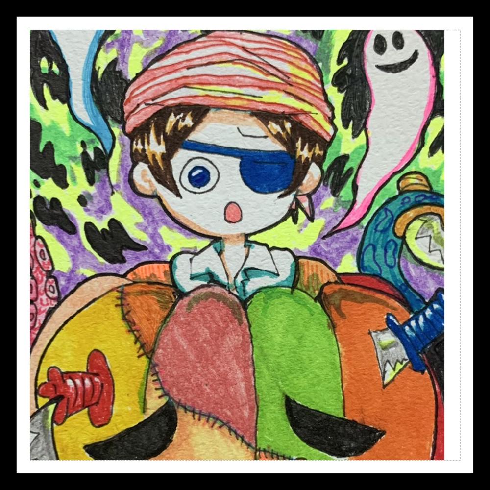 かぼちゃの危機一髪 100mmホワイトステッカー・シール