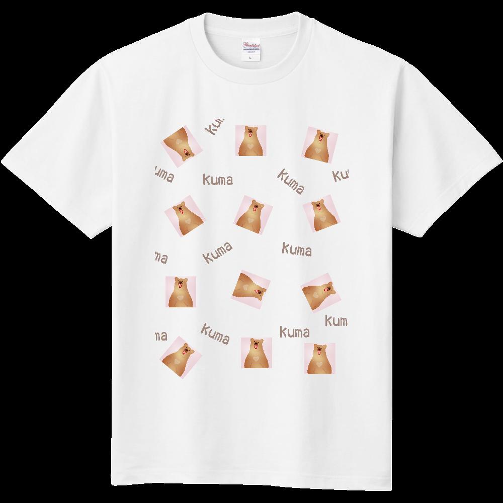 くま柄ピンク小柄デザイン 定番Tシャツ