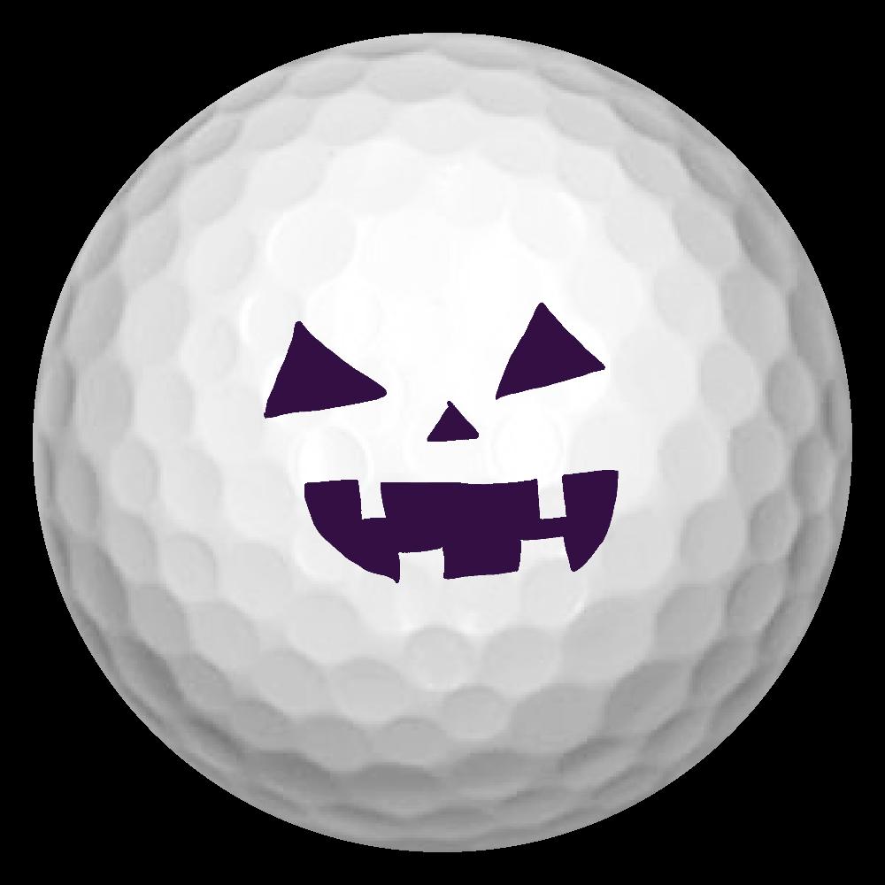 ハロウィンカボチャおばけのお顔 ゴルフボール(3個セット)