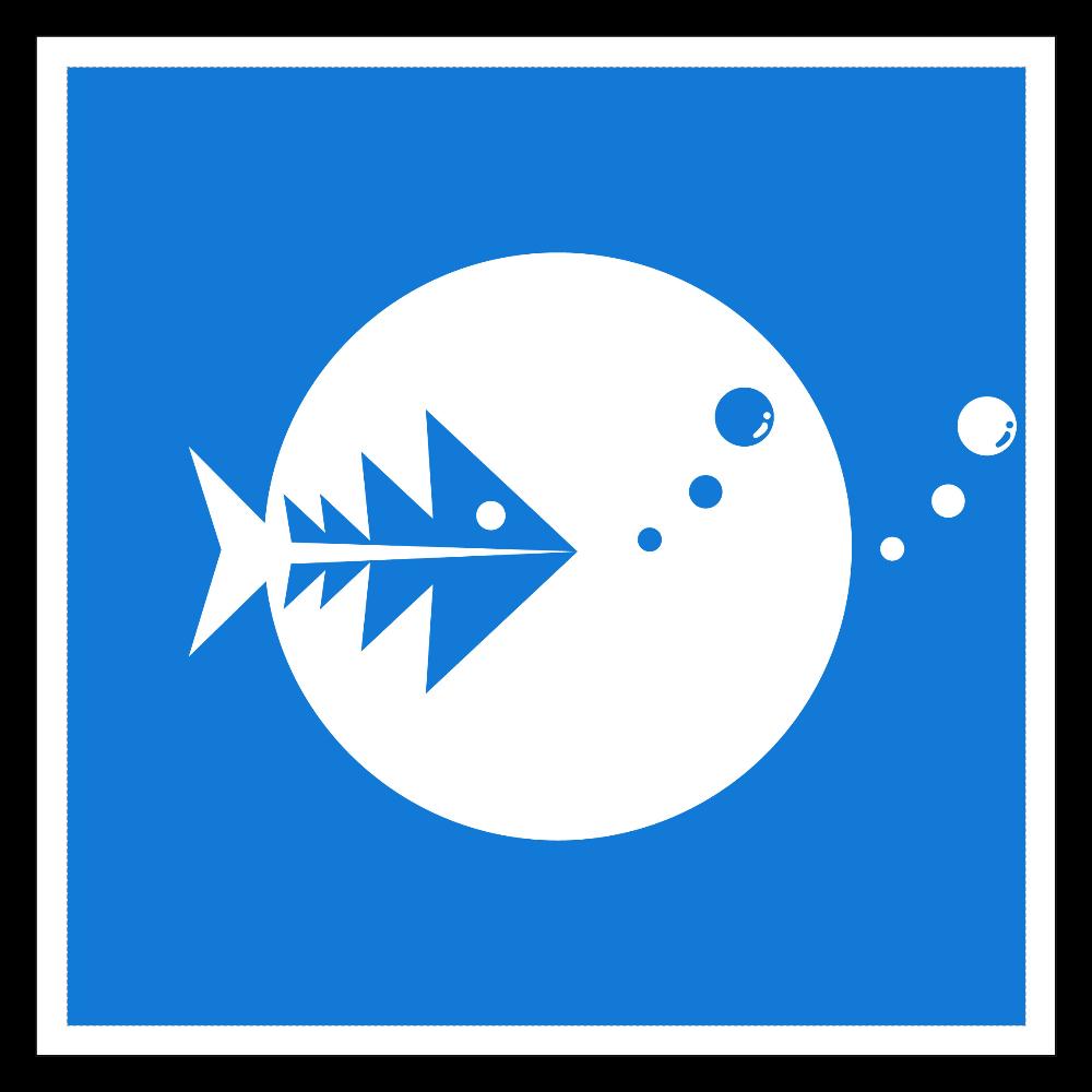 Fish in fish 100mmホワイトステッカー・シール