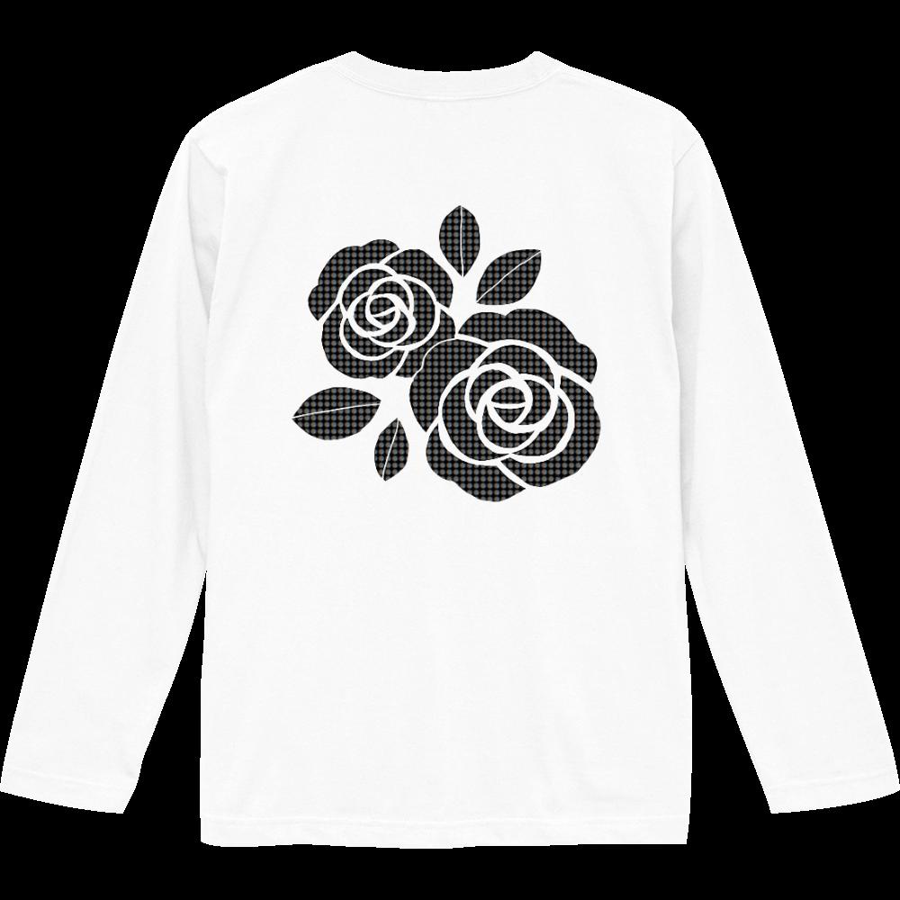 黒花柄デザイン ロングスリーブTシャツ
