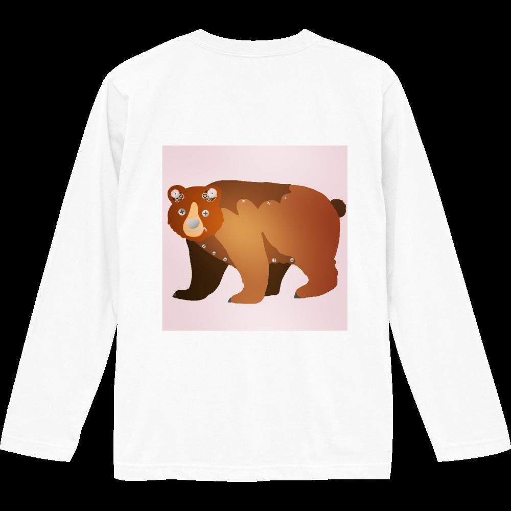 ピンクくま柄デザイン ロングスリーブTシャツ