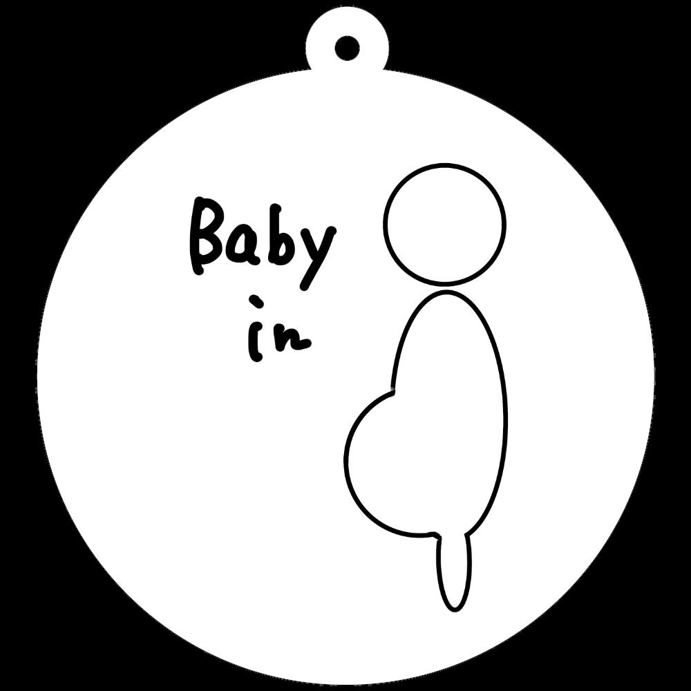 妊娠中・妊婦さん用キーホルダー 50×50mm アクリルキーホルダー(丸型)