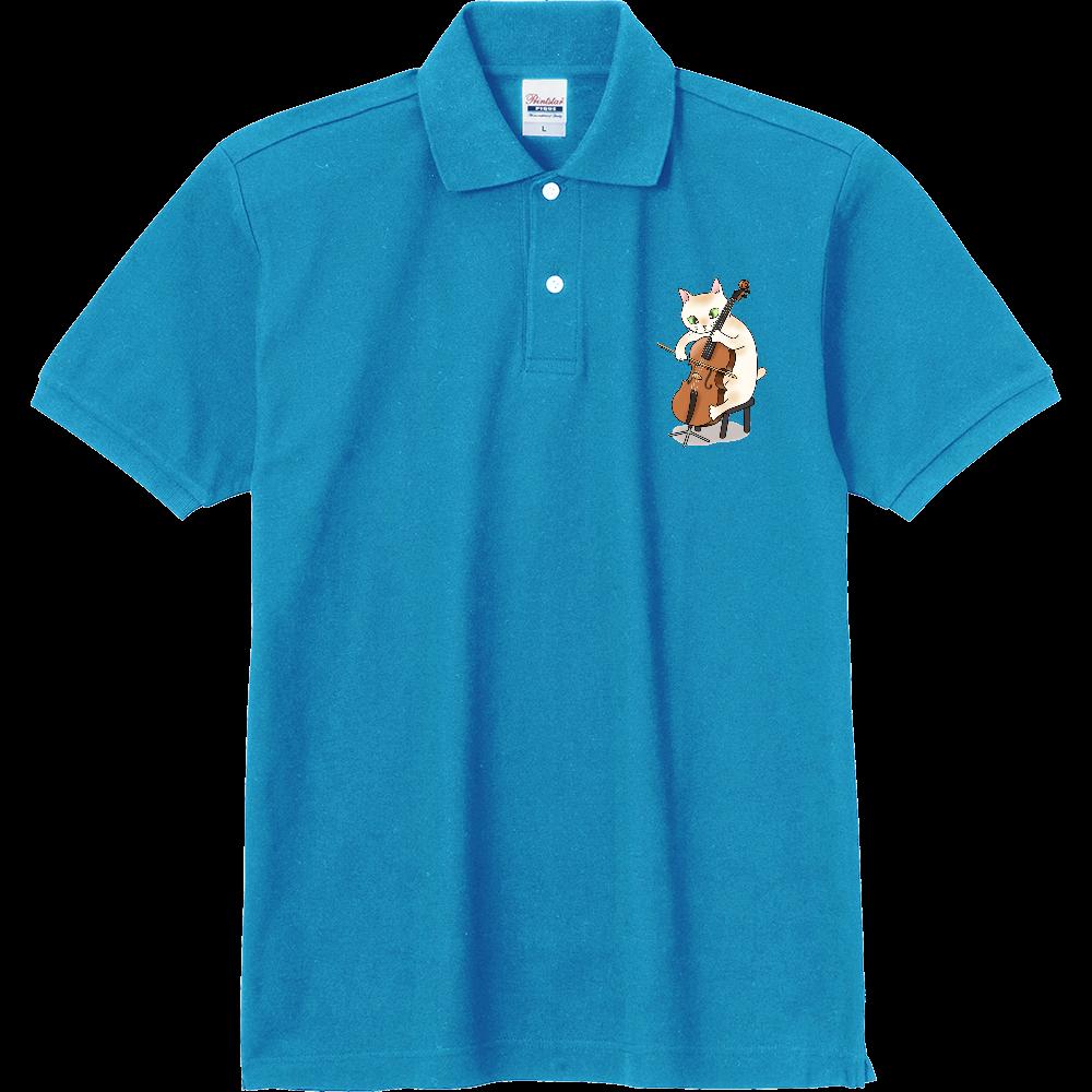 チェロを弾く猫 定番ポロシャツ
