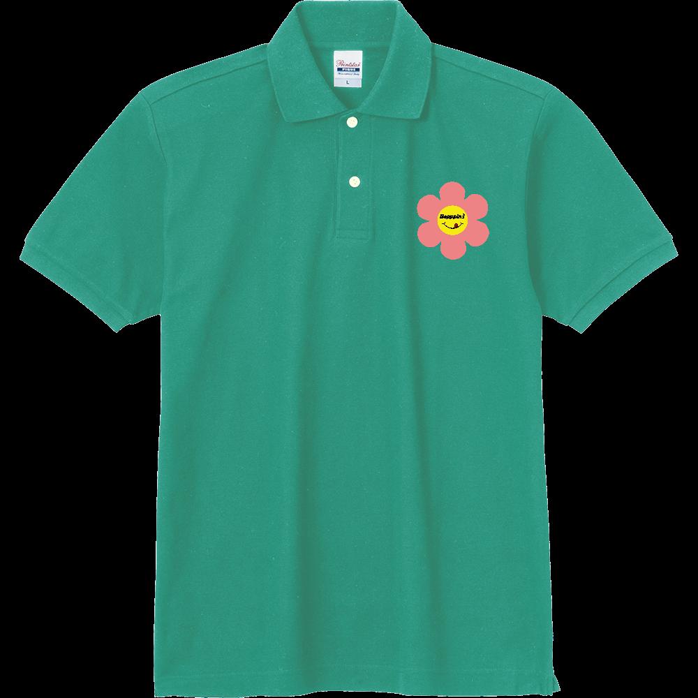 レトロフラワー☆ピンク 定番ポロシャツ