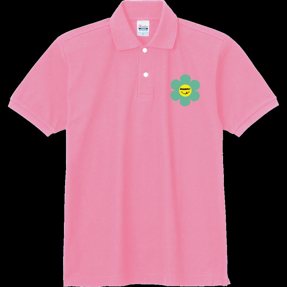 レトロフラワー☆グリーン 定番ポロシャツ