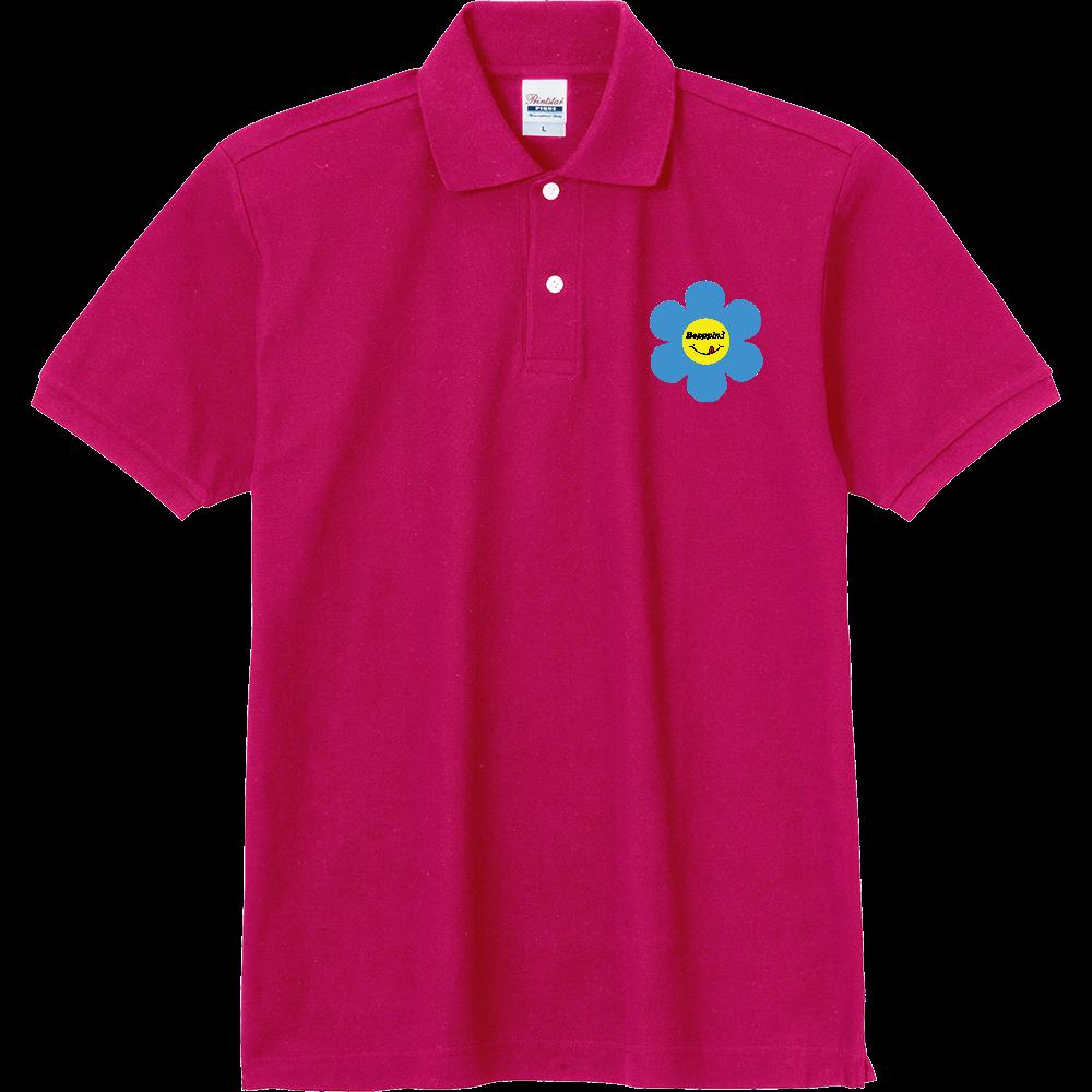 レトロフラワー☆ブルー 定番ポロシャツ