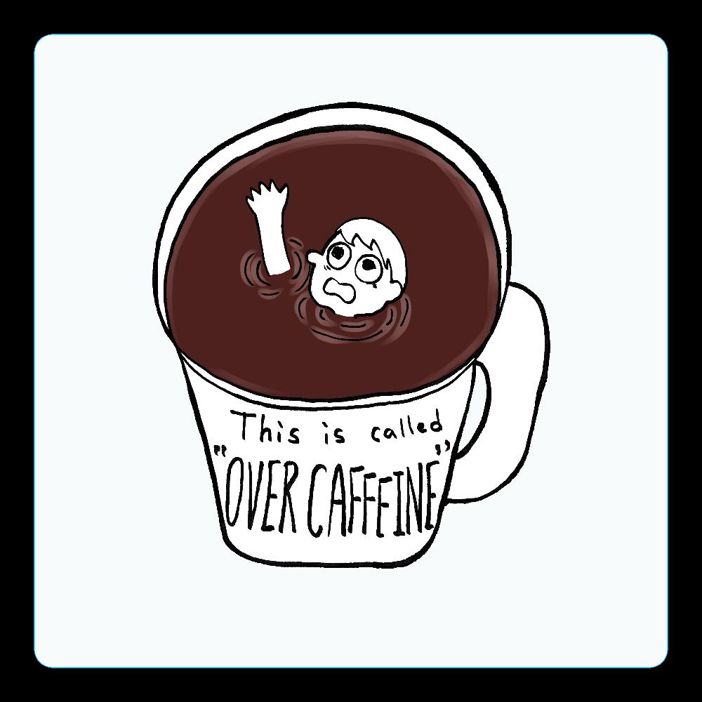 コーヒーに溺れオーバーカフェイン アクリルコースター(四角)