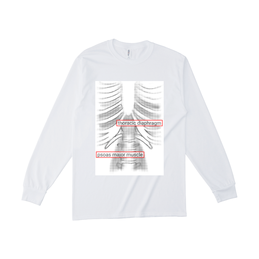 両面・骨格プリントロングTシャツ ジャージーズDRI-POWERロングスリーブシャツ