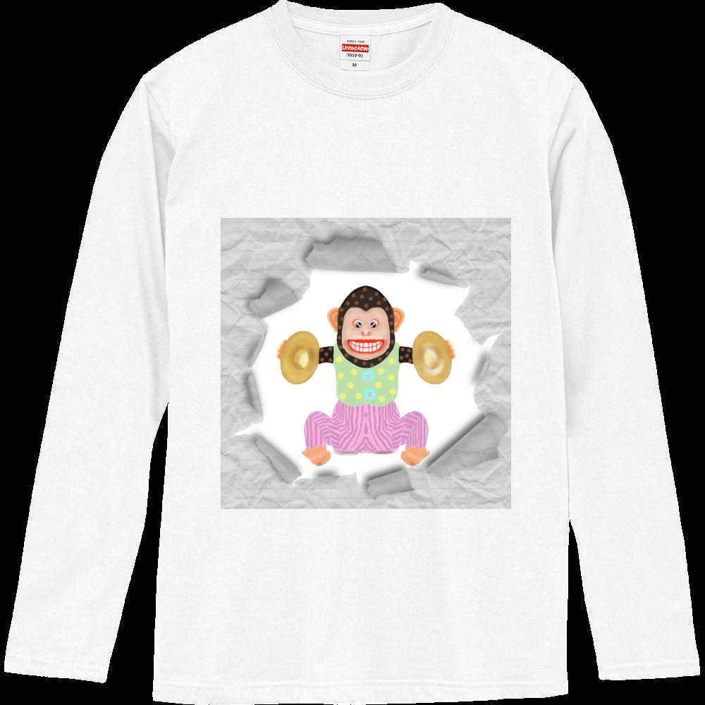 おさるのオモチャ2デザイン ロングスリーブTシャツ