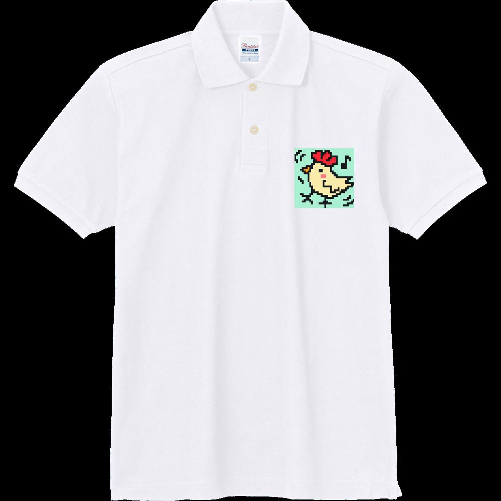 【ニワトリ】ドット絵 定番ポロシャツ