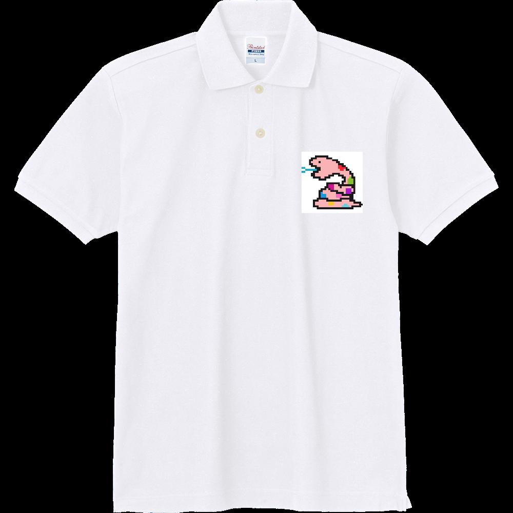 ピンクヘビ 【ドット絵】 定番ポロシャツ