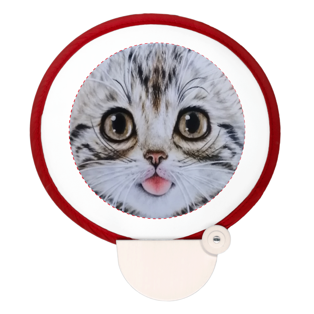 ポータブルうちわ 猫舌アメショー フォールディングファン