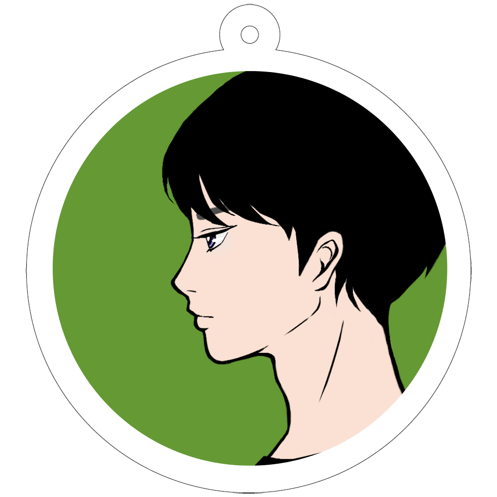 face in profile 50×50mm アクリルキーホルダー(丸型)