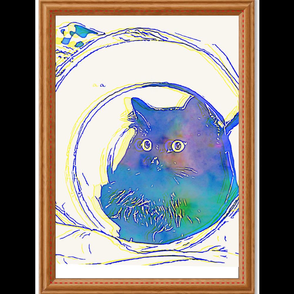 黒猫ジジくんシリーズ version1 アートデザインパネル (A4 キャンバス)