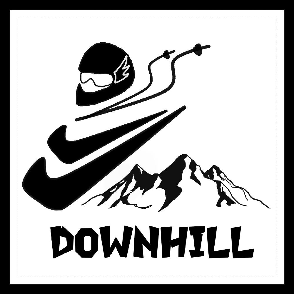 滑降(ダウンヒル) 100mmホワイトステッカー・シール