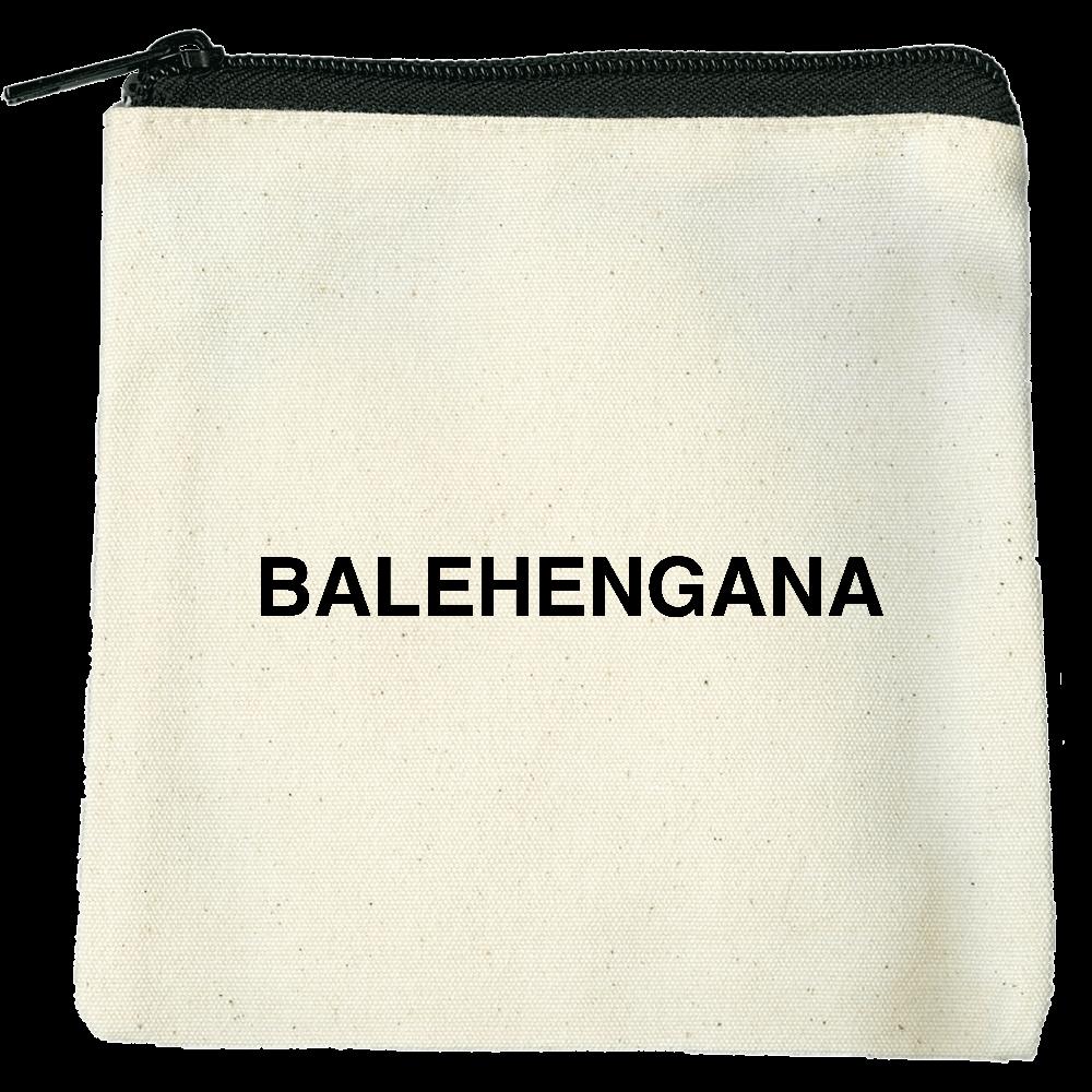 BALEHENGANA -バレヘンガナ ばれへんがな 黒ロゴ ライトキャンバスフラットポーチ(SS)