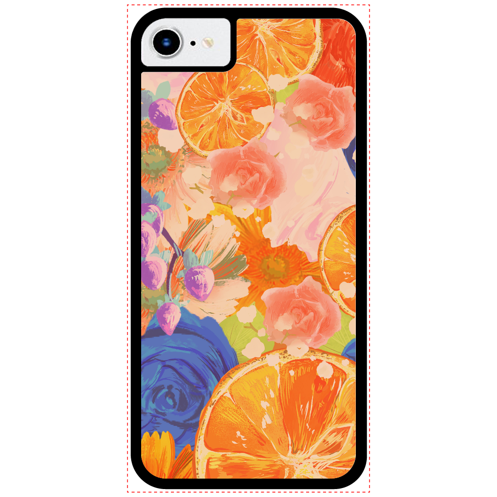 Flowersデザイン iPhoneケース iPhoneSE2_クリアパネルラバーケース