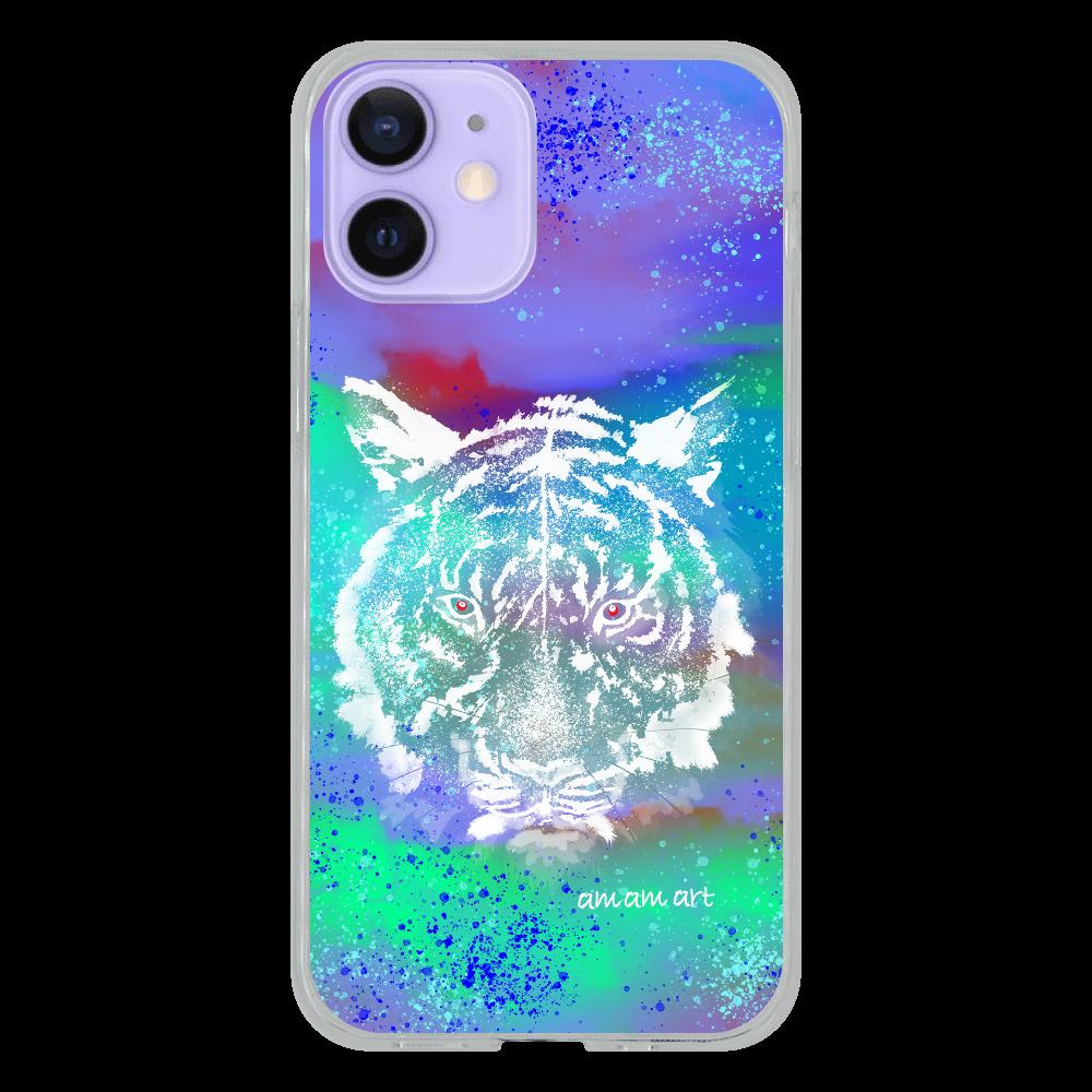iPhone12 mini ソフトケース (TPU)クリア 「  ホワイトタイガー 青い宇宙  」 amamart オリジナルデザイン iPhone12 mini ソフトケース (TPU)