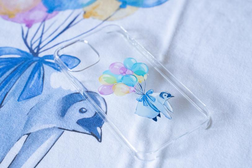 ペンギン(風船) スマホケース iPhone12(透明)