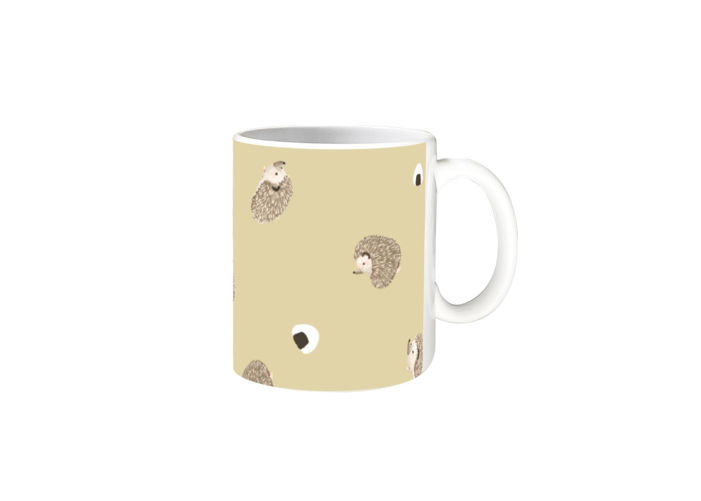 ハリネズミとおにぎりマグカップ 全面印刷 マグカップ