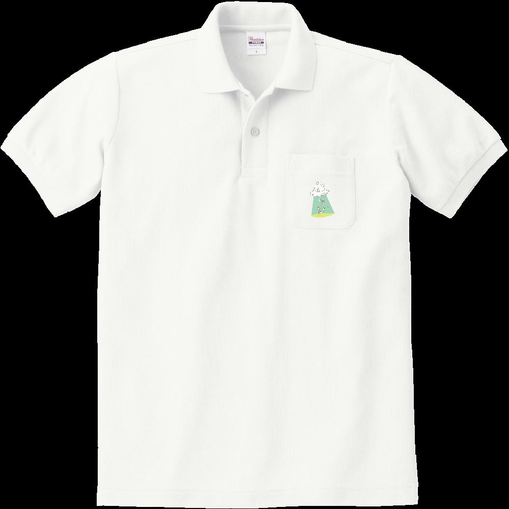 キャトるUFOうさぎ(芋) シンプルポケット付きポロシャツ 定番ポロシャツ(ポケット付き)