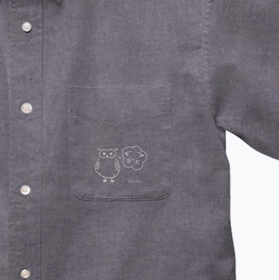 tabun Neko(ふくろう)/darkcolor/オックスフォードボタンダウンショートスリーブシャツ オックスフォードボタンダウンショートスリーブシャツ