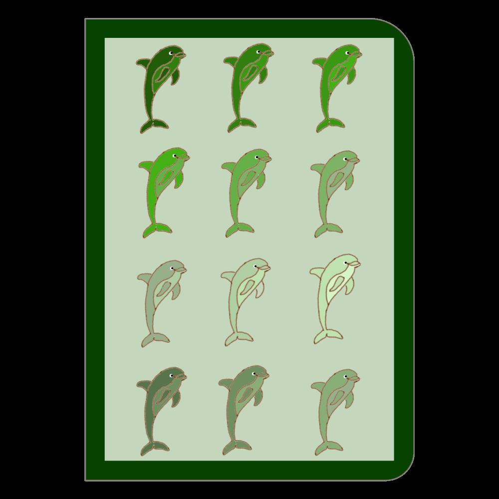 規則的イルカ グリーン ハードカバーポケットノート