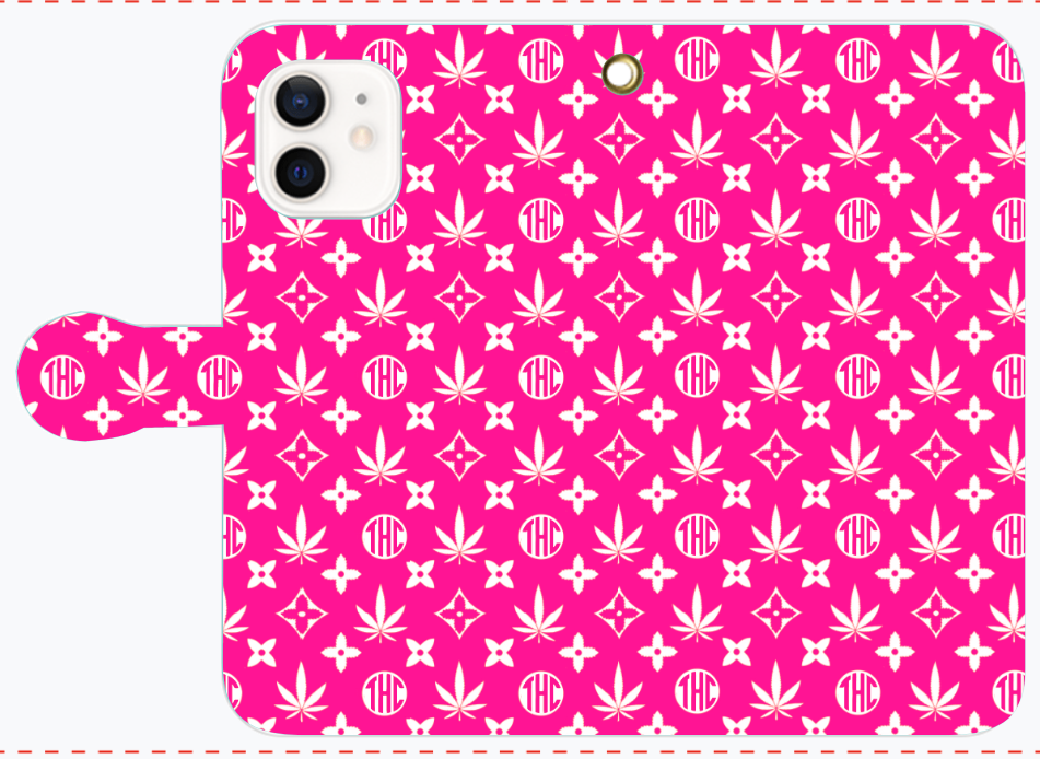 麻柄モノグラム(ピンク) iPhone12/12pro 手帳型スマホケース
