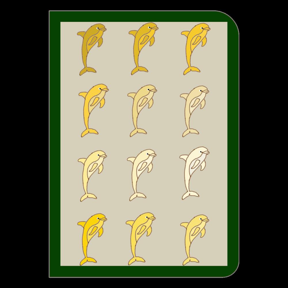 規則的イルカ イエロー ハードカバーポケットノート