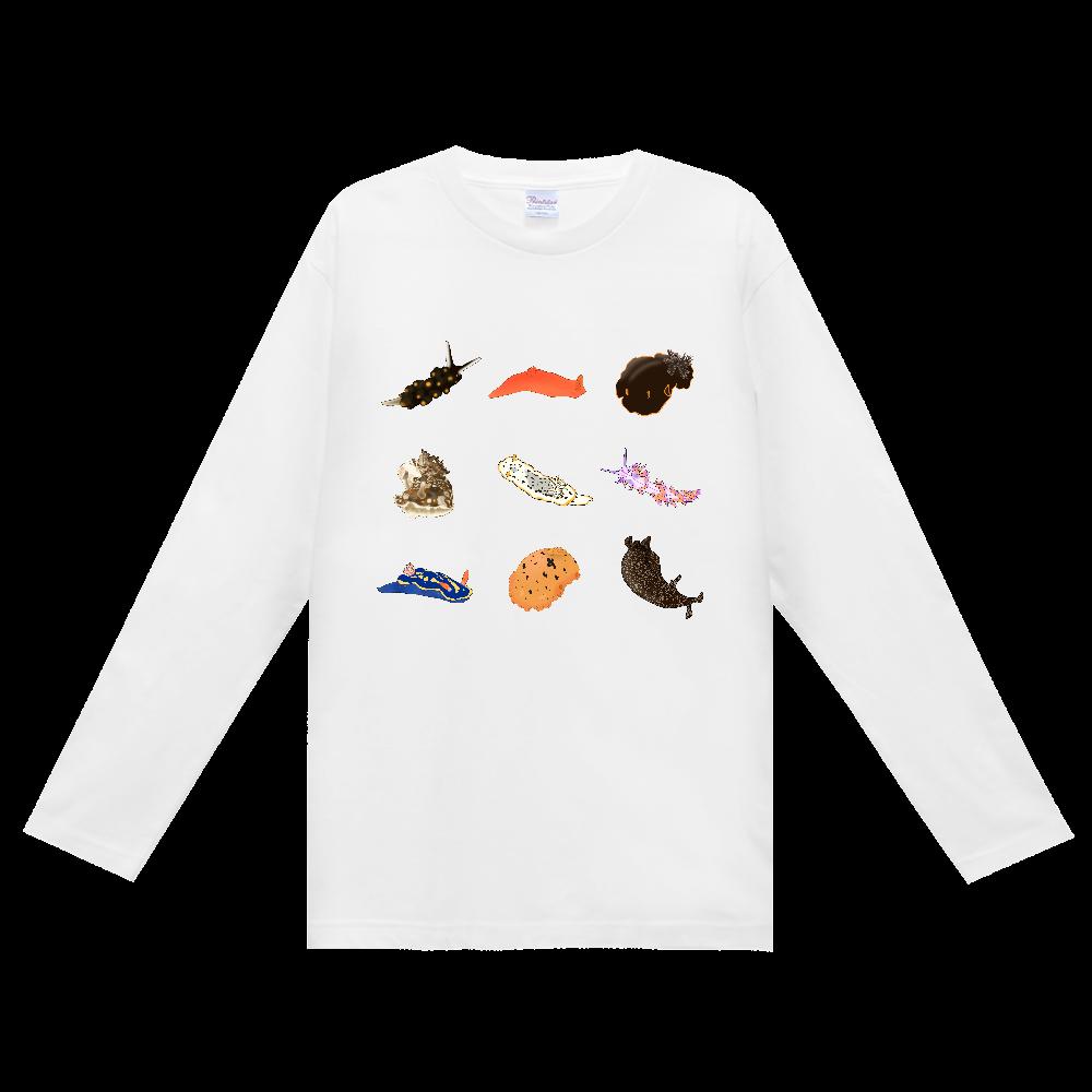 ウミウシTシャツ シンプル (長袖)白 ヘビーウェイト長袖Tシャツ