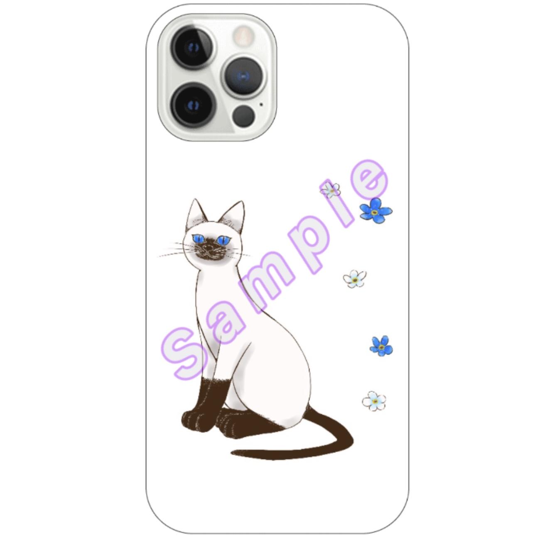 青い目の猫と勿忘草iPhone12 Proスマホケース iPhone12 Pro