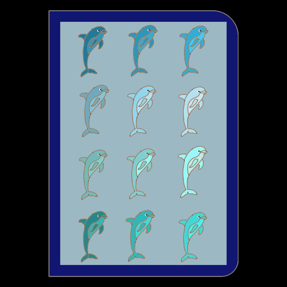 規則的イルカ ブルー ハードカバーポケットノート